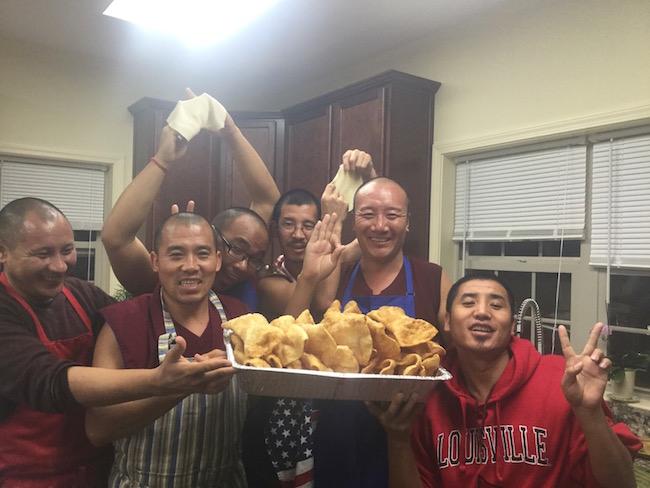 monks in kitchen