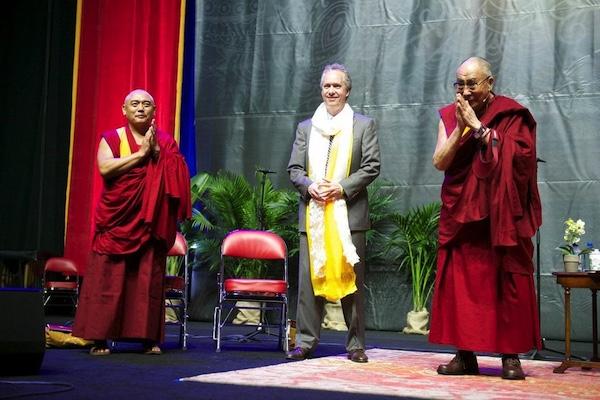 Geshe Rapgyal, Mayor Fischer, HH. Dalai Lama
