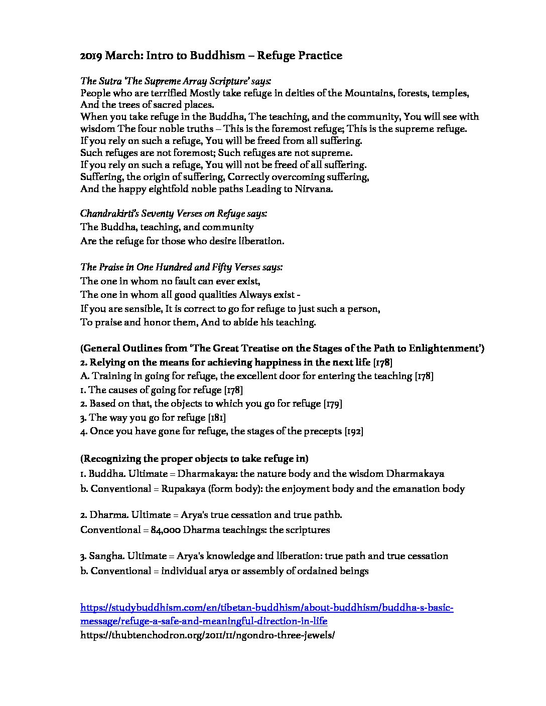 Intro to Buddhism (March 2019 Class handout: Refuge Practice